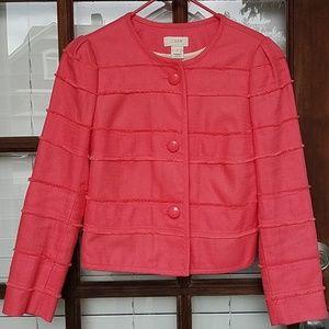 J. Crew Fringe Cotton Blend Coral Blazer Jacket